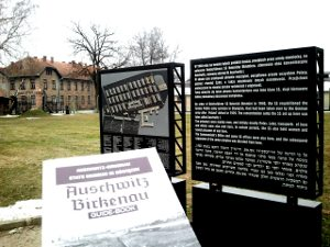 Guide Book and Information Plaques in Auschwitz
